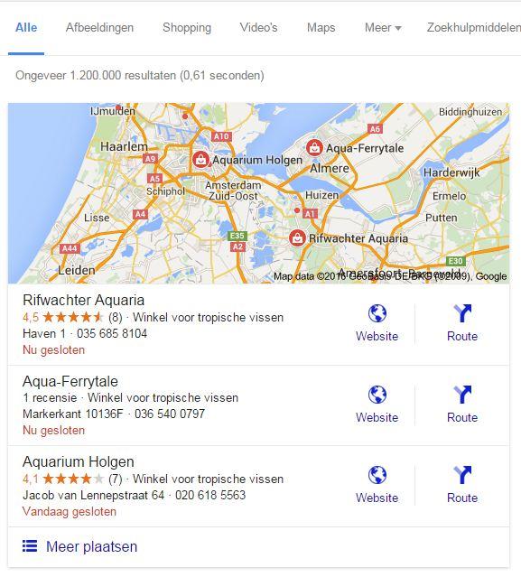 Lokale zoekopdrachten in Google