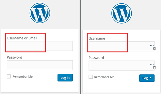 Wordpress login email